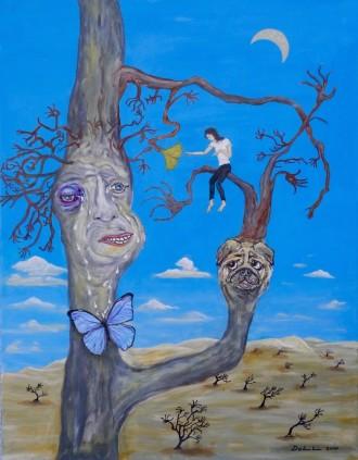 Blauäugiger Mann mit Mops mutiert zu einem Ginkgobaum mit der Hoffnung damit die Welt retten zu können