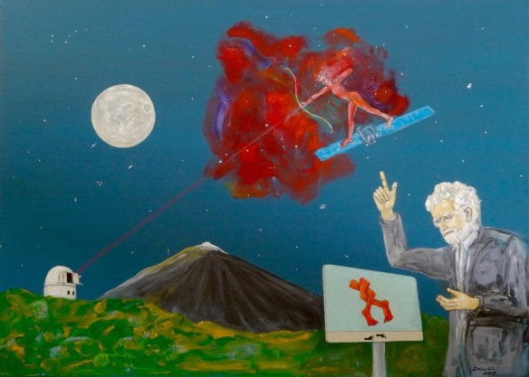 Anton Zeilinger doziert auf Teneriffa über Quantenteleportation und empfängt ein Signal verschränkter Quanten von Artemis, einem Satelliten, gleichen Namens wie ein kosmischer Nebel aus dem Sternbild Orion.